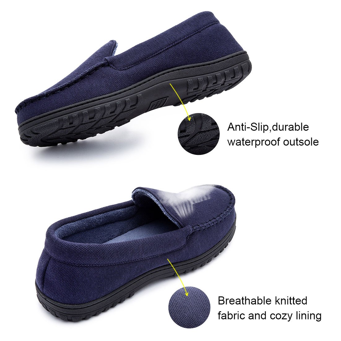 Mens Moccasin Slippers Anti-Slip House Shoes Indoor Outdoor Rubber Sole Loafers