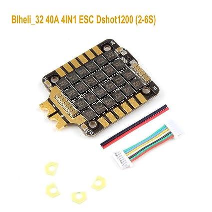 4IN1 ESC,Rcharlance Typhoon Blheli_32 40A 4IN1 FPV esc BLHeli Brushless  Electric Speed Controller Dshot1200 ESC (2-6S) for 140-360mm Diagonal