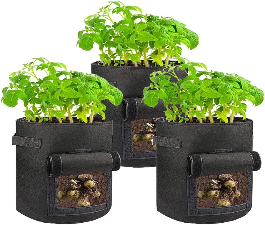 Blue Box 1-Pack 45 Gallon Grow Bags - Fabric Planters with Handles - Felt Gardening Planter Pots Drainage - Indoor or Outdoor Cloth Growing Container for Tomatoes Flowers & Vegetables (Black)