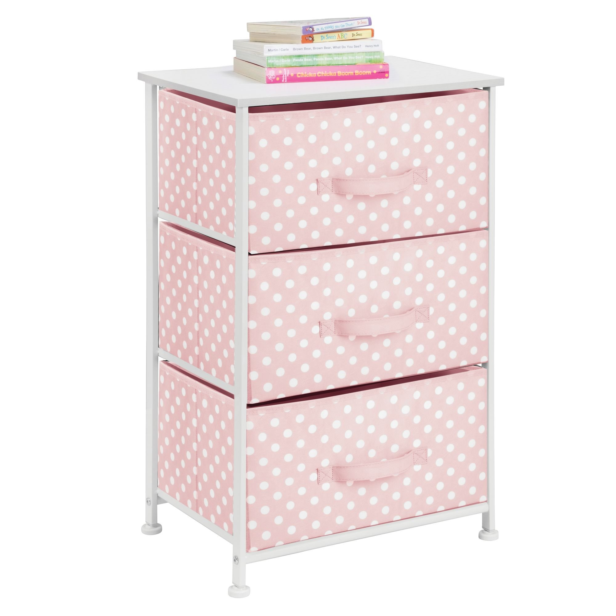 mDesign 3-Drawer Vertical Dresser Storage Tower - Sturdy Steel Frame, Wood Top and Easy Pull Fabric Bins - Multi-Bin Organizer Unit for Child/Kids Bedroom or Nursery - Light Pink with White Polka Dots