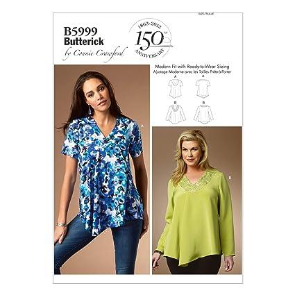 Butterick Patterns 5999 WMN - Patrones de costuras de blusas para mujer (tallas grandes)
