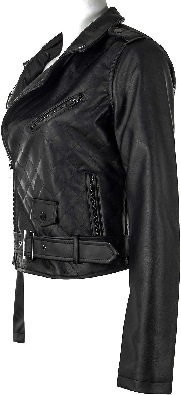 Women/'s Juniors Fashionable Faux Leather Moto Biker Jacket with Pockets