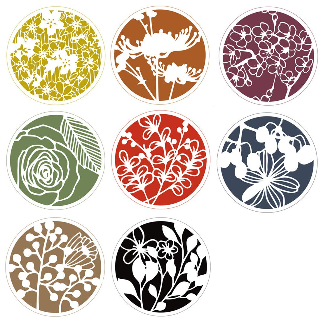Buyby 8 Packs Flowers Stencils Scrapbooking Crafts Arts Drawing Template 17CM