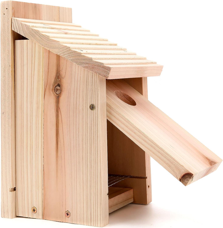 无品牌 Wooden Bluebird House Oceek Bird-House DIY Wooden Birdhouse Bluebird Box with Mesh Floor, 11.8