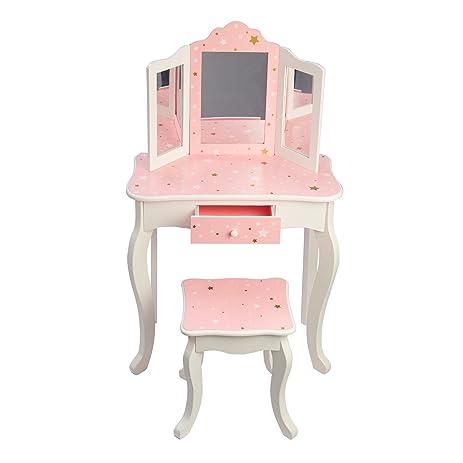Gentil Teamson Kids Gisele Vanity Table And Stool Set, Pink / Star, T: 23.50
