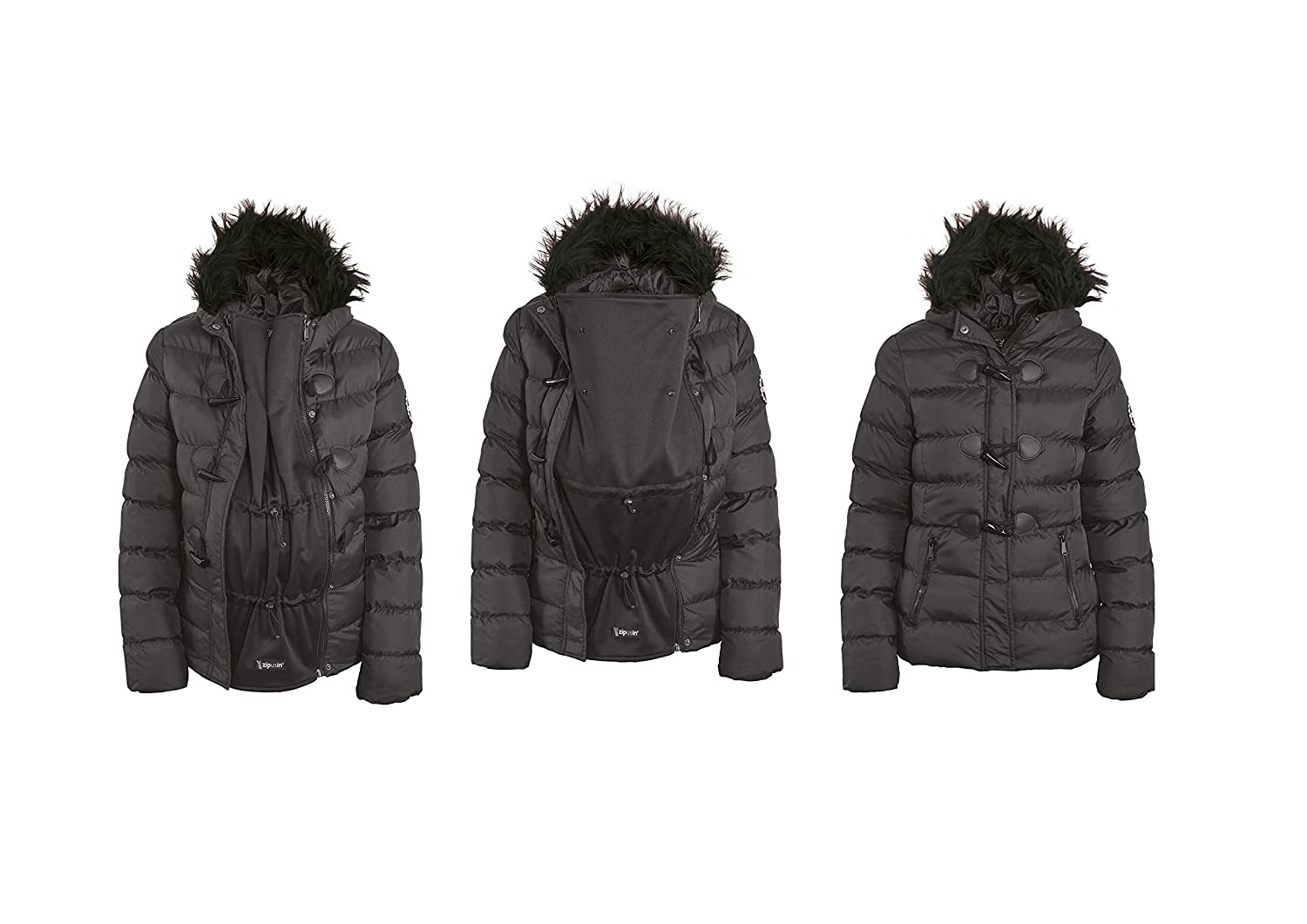Ladies Winter 3 in 1 Black Hooded Padded Puffa Jacket with Removable Panel for Maternity, Babywearing and Postnatal