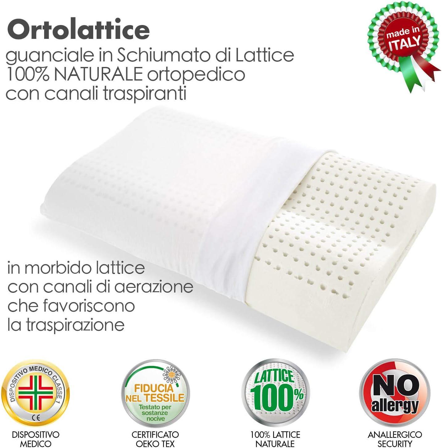 rev/êtu d/'un tissu de protection Oreiller en Latex naturel /à double hauteur avec trous respirants Goldflex hypoallerg/énique avec un soutien ferme