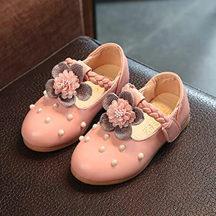 8232905fa2f5b Hemlock Little Girl Sandals Shoes Pearl Flat Shoes Princess Dress Shoes  Baby Soft Flat Sandals (2 Years Old, Pink)