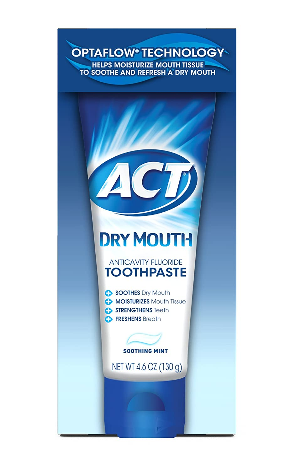 Act Dry Mouth Anticavity Fluoride Toothpaste, Soothing Mint, 4.6 Ounce CHATTEM CHA09200