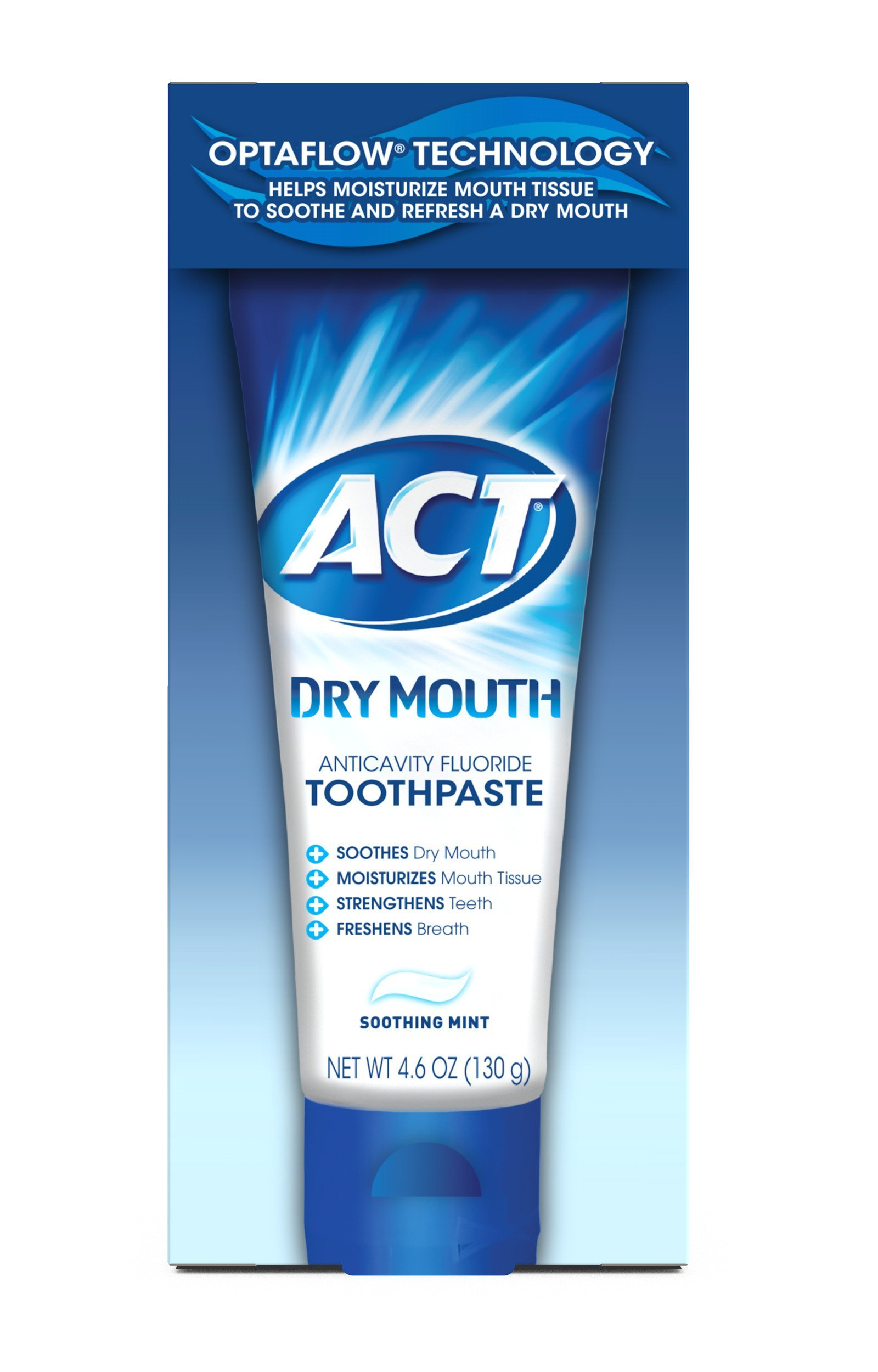 ACT Dry Mouth Anticavity Fluoride Toothpaste, Soothing Mint, 4.6 Ounce