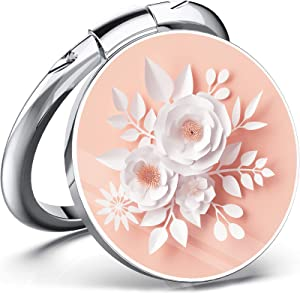 Paper Flowers Cell Phone Ring Holder Finger Ring Stand, Kickstand Metal Grip Holder for Magnetic Car Mount Compatible with iPhone 12/11 Pro Max/SE 2020 and Other Smartphones (White Pink)