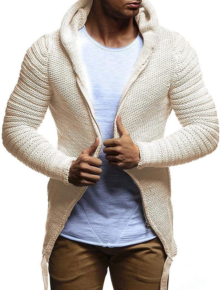 Cárdigans para Hombre, Abrigo de Punto Sólido Trinchera Chaqueta Cardigan de Manga Larga Outwear Blusa Largo Algodón Casual Coat Jacket Outwear Drape Knit Yvelands(Caqui, S): Amazon.es: Ropa y accesorios