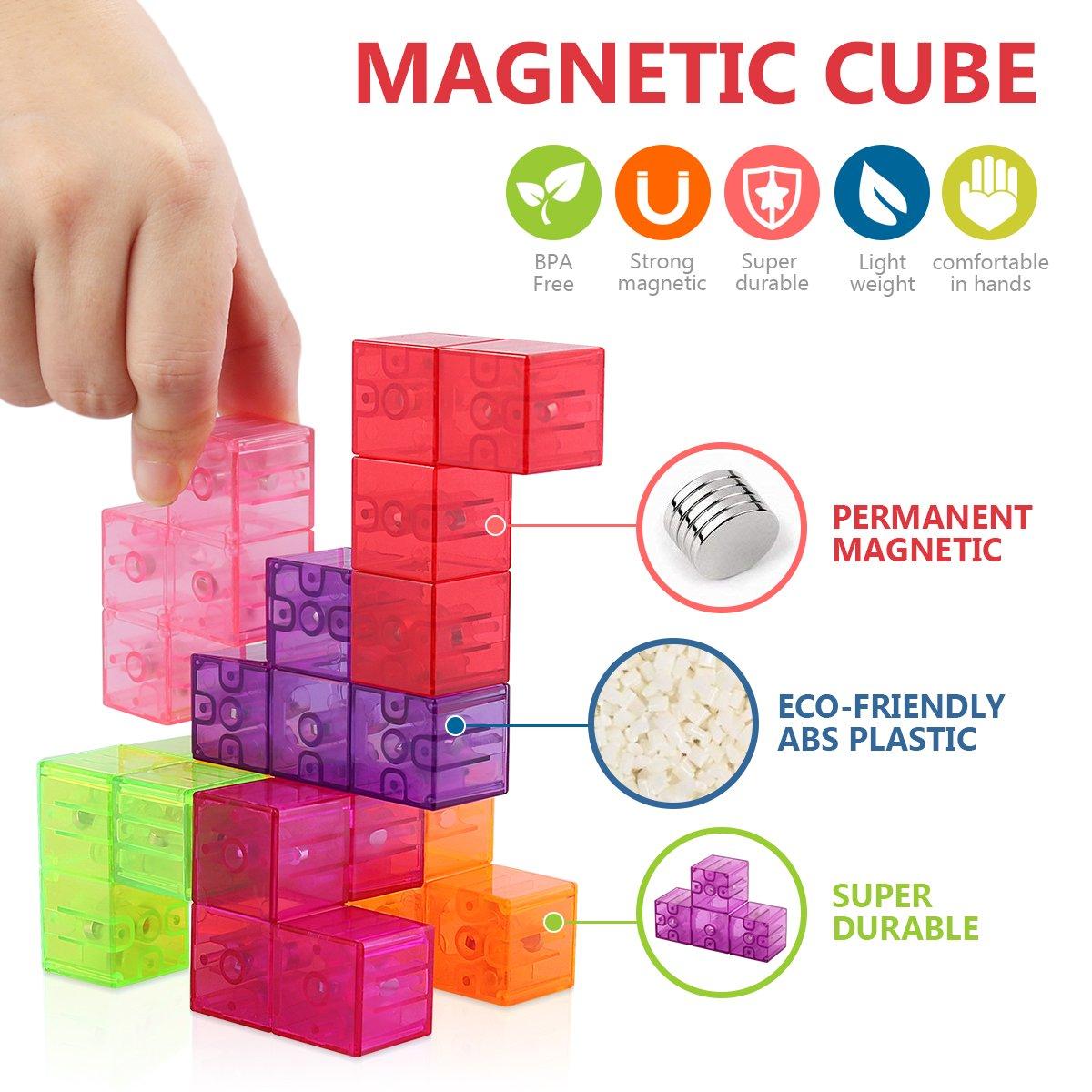 D-FantiX Magnetic Building Blocks Tetris Puzzle Cube 7pcs/Set Square 3D Brain Teaser Puzzle Magnetic Tiles Stress Relief Toy Games for Kids ( Cube Size 2.36in) by D-FantiX (Image #4)