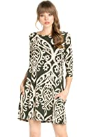Women's Comfy Casual 3/4 Sleeve Print Tunic Dress Limited