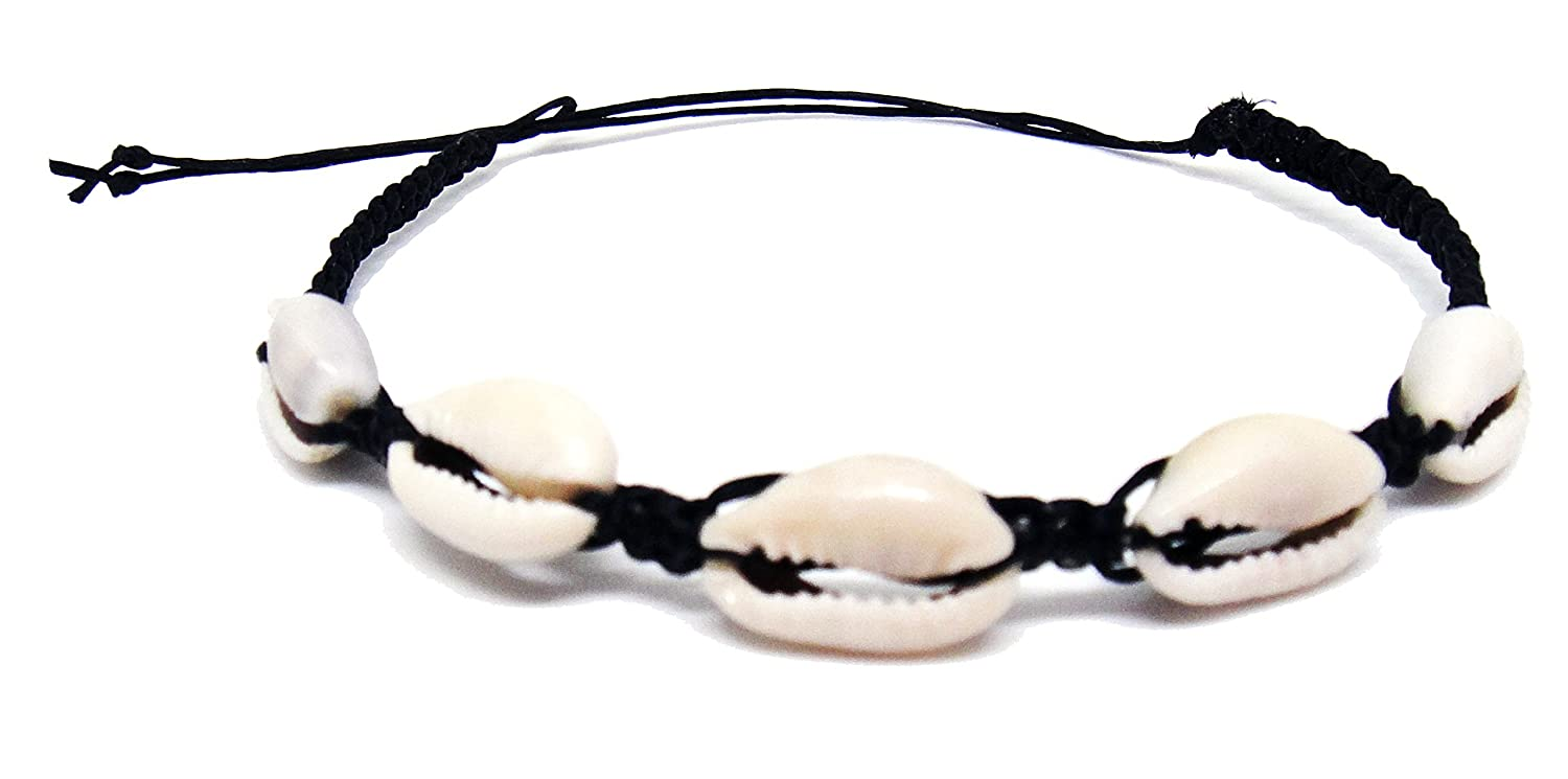 Cowrie Hawaiian Natural Shell Bead Bracelet Genuine Leather Stretch Chip Reggae Jamaican for Women HawaiianCraftier Leather-Bracelet-23