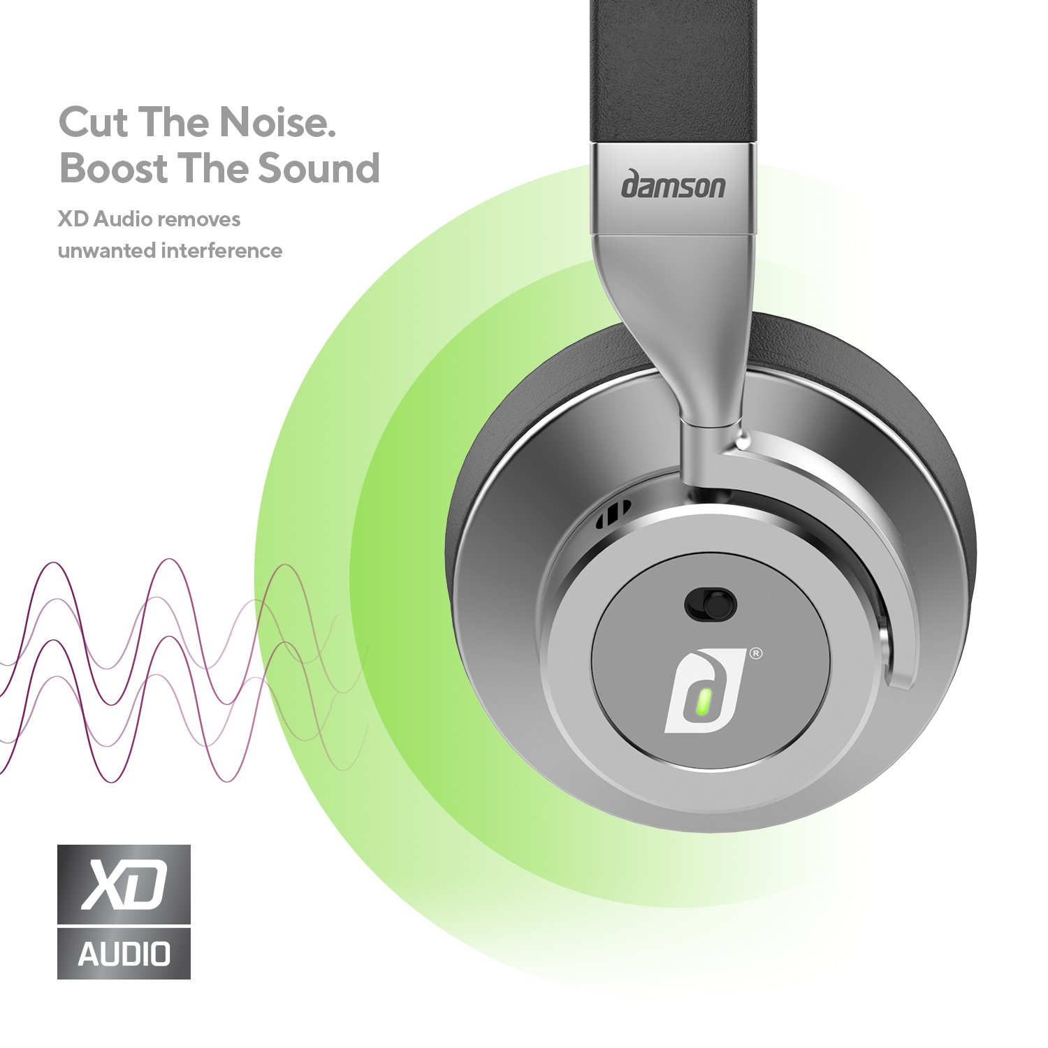 a7c63c1d01d Amazon.com: Damson HeadSpace - Wireless Bluetooth Noise Cancelling Over the  Ears Headphones - Includes Micro-USB Charging Cable, 3.5mm Auxiliary Cable,  ...