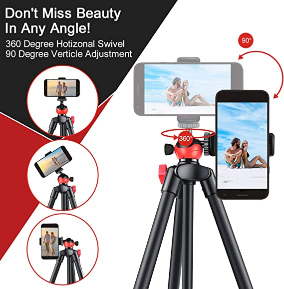 "Travel Tripod 52.5/"" Lightweight Camera Tripod Aluminium Phone Tripod with Bluetooth Phone Holder Portable Tripod for DSLR Camera Huawei Xiaomi Sumsung Google Pixels"