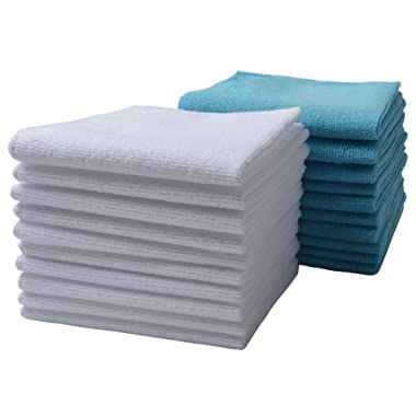 SINLAND Wholesale 5 Color Assorted Microfiber Dish Cloth Best Kitchen Cloths Cleaning Cloths Poly Scour Side 12Inchx12Inch 10 Pack (bluex10+whitex10)