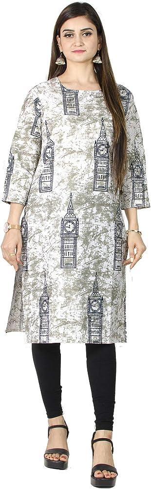 Women/'s Casual Cotton Tunic Top Ethnic Hand Block Printed Kurti Dress Brown
