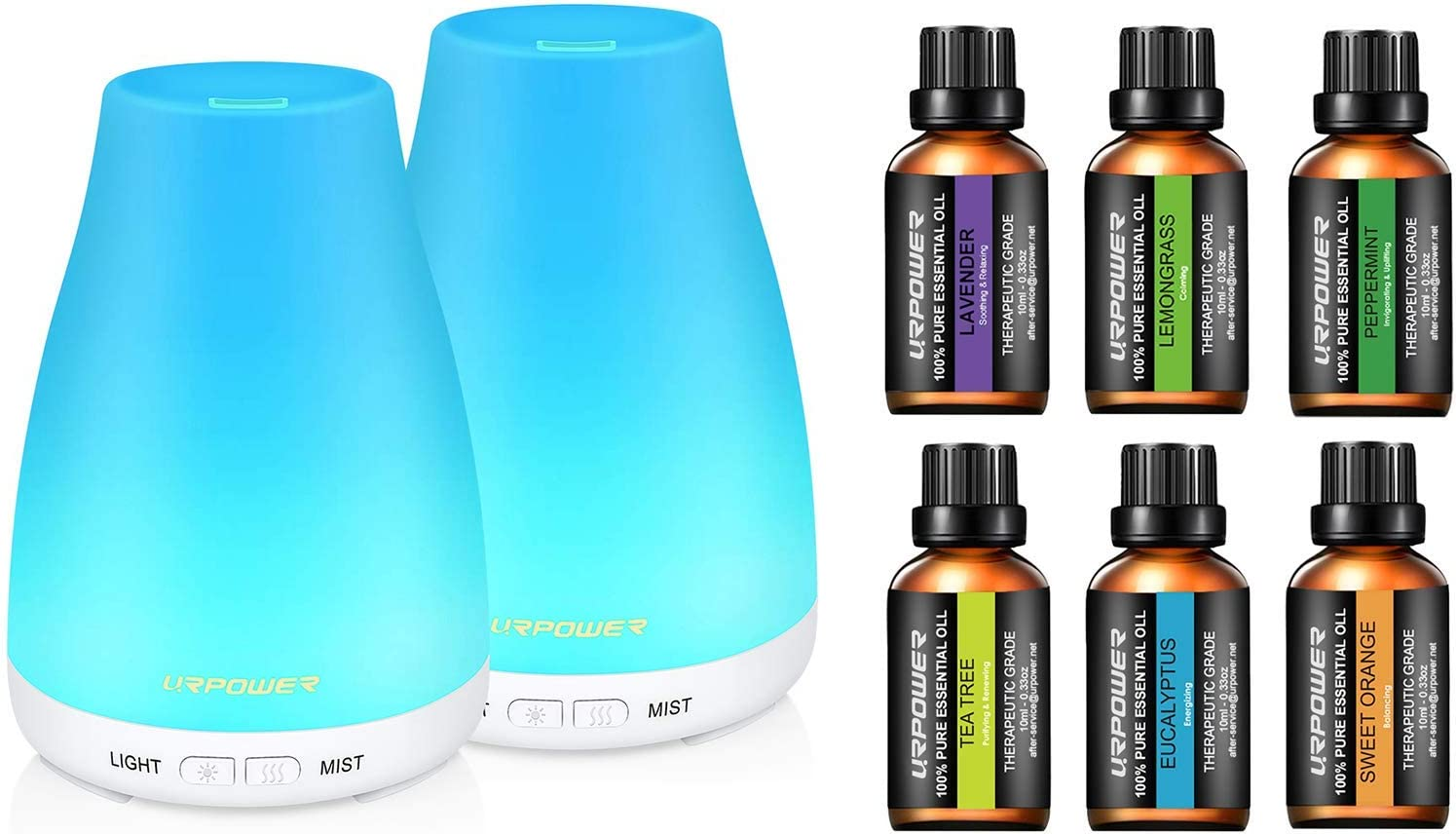 URPOWER Essential Oil Diffuser with Oils, 2 Pack Aromatherapy Diffuser with 6 Bottle 100% Pure Lavender, Peppermint, Sweet Orange, Eucalyptus, Tea Tree, Lemongrass Essential Oil Set 10ml/Each