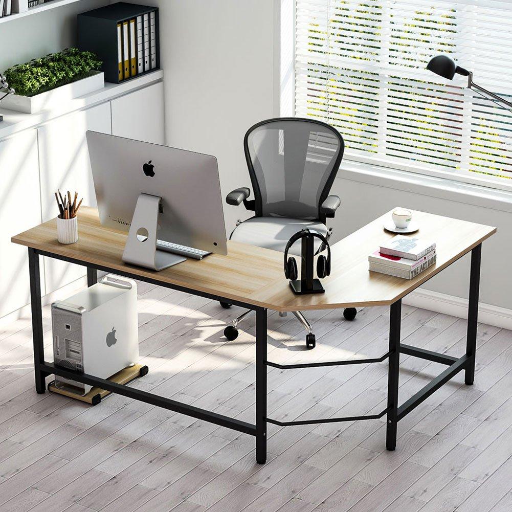 Tribesigns Modern L-Shaped Desk Corner Computer Desk PC Laptop Study Table Workstation Home Office, Wood & Metal (Walnut + Black Leg) by Tribesigns