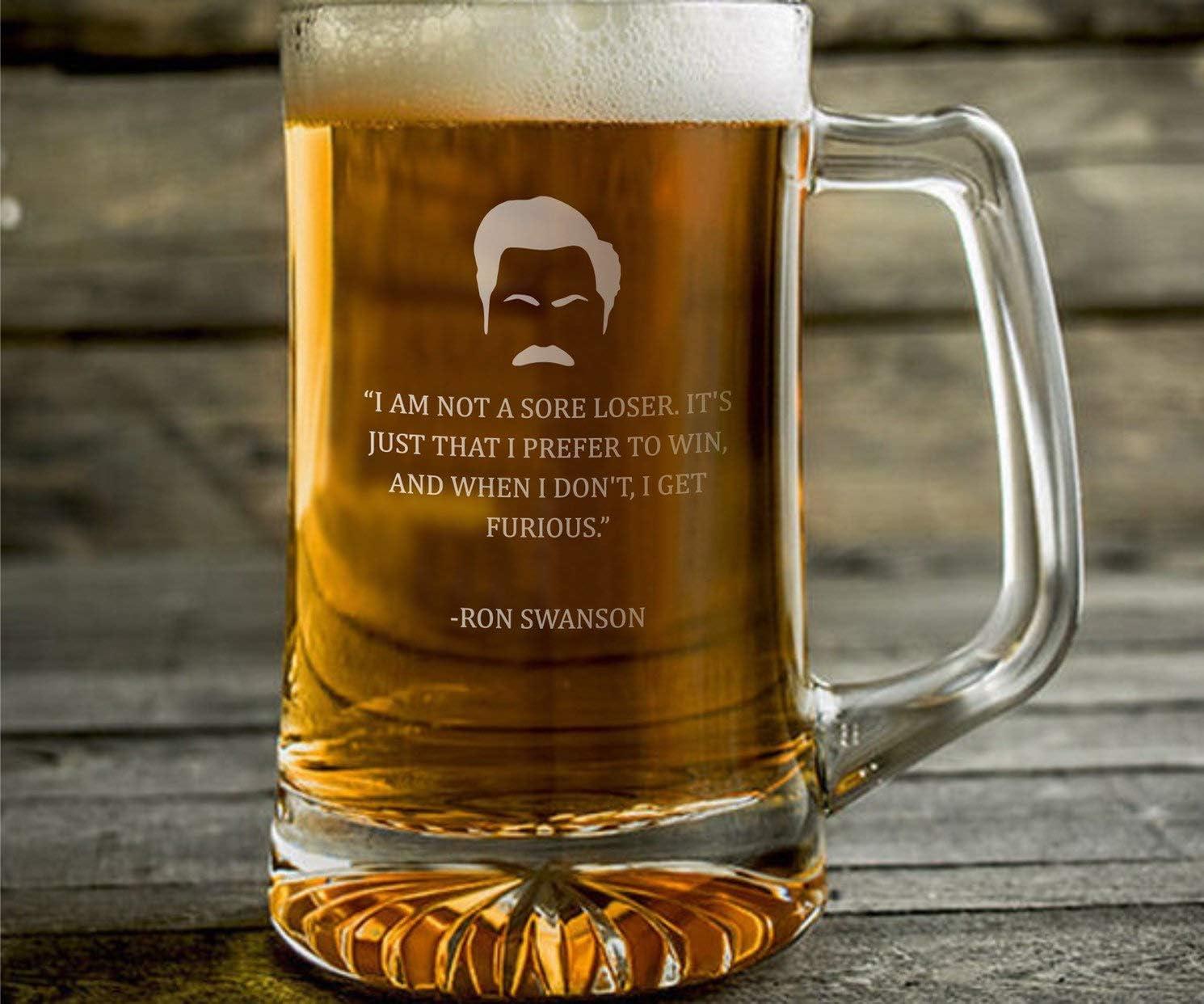 Ron Swanson - Taza de cerveza grabada con texto