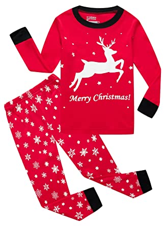 984029e3243e Amazon.com  KikizYe Girls Boys Christmas Pajamas Sets 100% Cotton ...