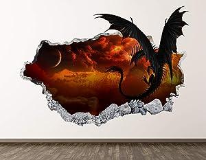 "West Mountain Dragon Wall Decal Art Decor 3D Smashed Kids Galaxy Sticker Mural Boys Gift BL06 (22"" W x 14"" H)"