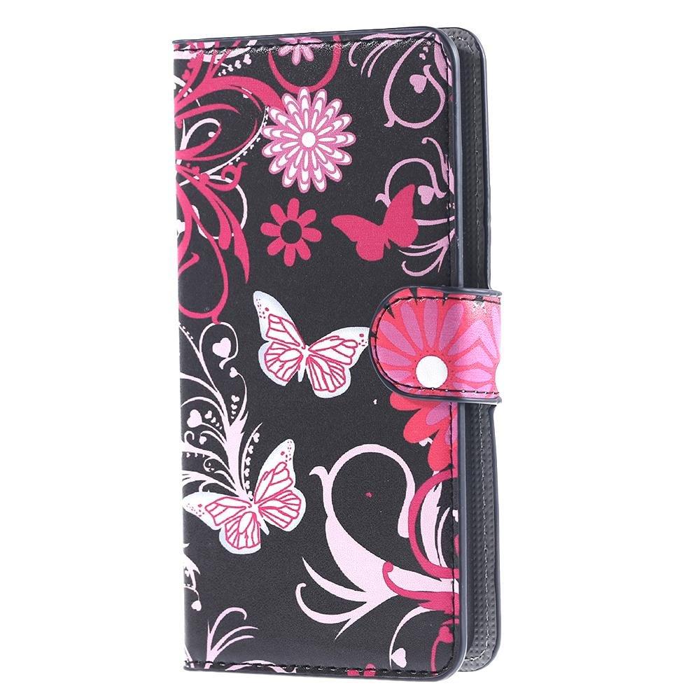 DETUOSI Huawei Y635 Flip Case Cover,PU Leather Wallet Funda Carcasa Flip Cover para Huawei Ascend Y635 Funda Carcasa con Función Soporte-Mariposa 02