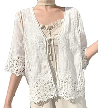 Gocgt Womens Casual Lace Crochet Cardigan Long Sleeve Cover Up