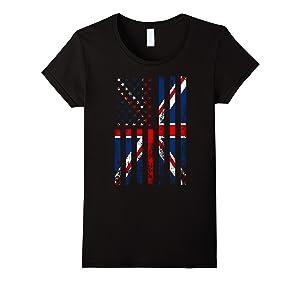 Women's Union Jack British Flag and USA Flag Large Black