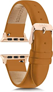 Compatible with Apple Watch Bands 38mm Women - Apple Watch Bands Women - Apple Watch Band 40mm Series 4 - Apple Watch Band Leather - Brown Leather Apple Watch Band - Rose Gold Apple Watch Band (Tan)