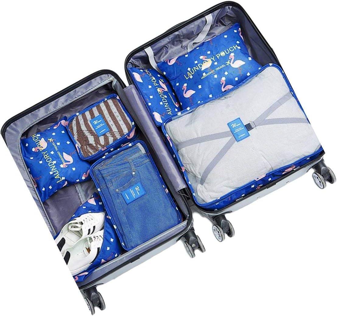 Ensemble de 7 Organisateurs de Voyage Cubes de Emballage Sac /à Linge Bagages Sacs de Compression V/êtements Valises Sacs de Rangement