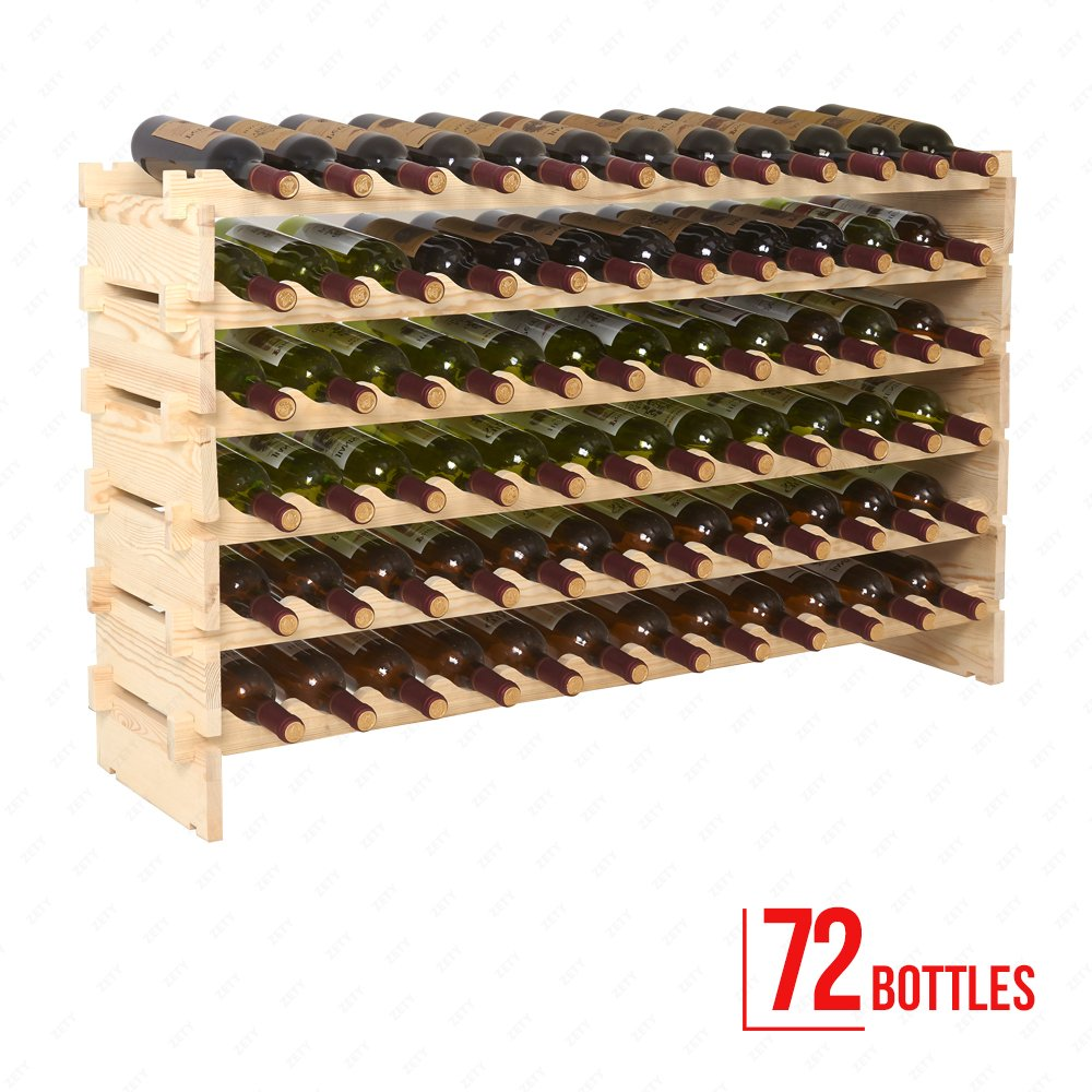 Mecor Wine Rack Wood, Modular Stackable Storage 72 Bottle Display Capacity Shelves, Wobble-Free