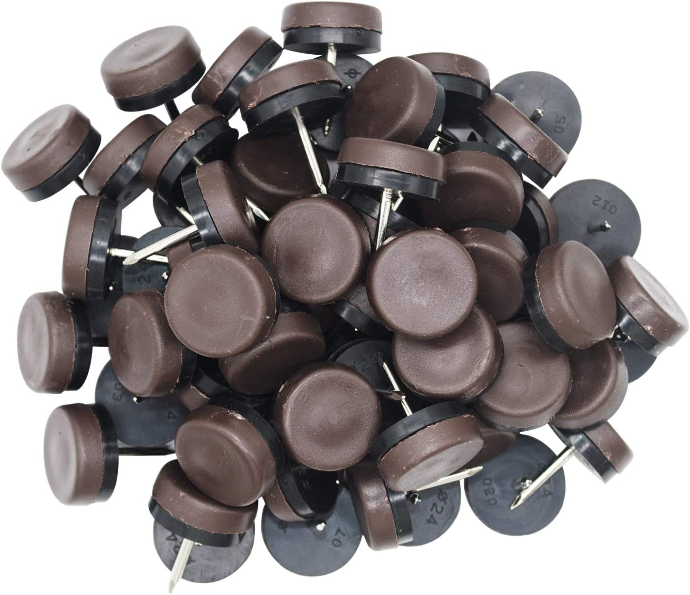 40pcs Round Nail-on Nylon Slider Pad Anti-Sliding Floor Protectors for Wood Furniture Chair Table Leg Feet (Φ18mm, Brown)