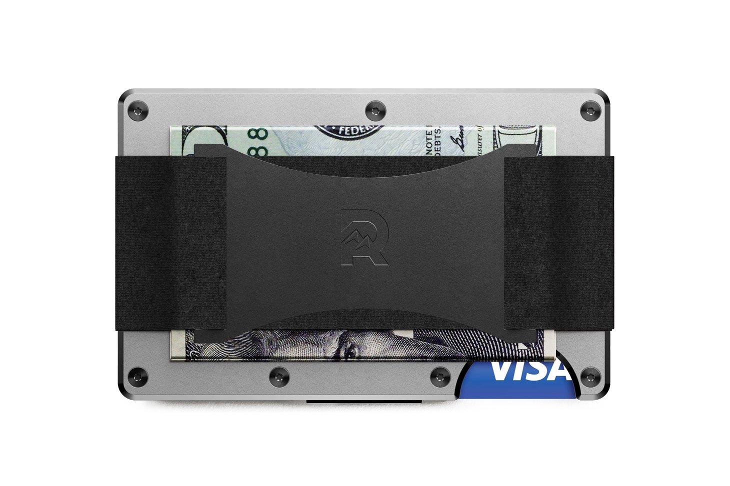 The Ridge Wallet Aluminium Raw mit Geldband   Geldbörse RFID sicher Al/CashStrap/Silver/TRA13