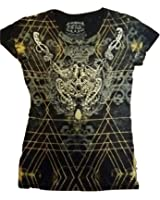 Fifth Degree Womens Jewel Studded Graphic Tees Top Short Sleeve Printed T Shirt - S