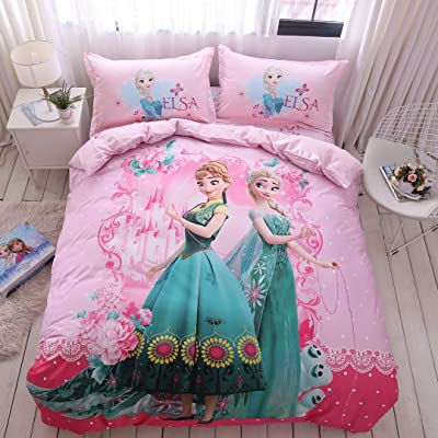 Casa 100% Cotton Kids Bedding Set Girls Frozen Elsa and Anna Princesses Pink Duvet Cover and Pillow Cases and Flat Sheet,4 Pieces,Queen: Home & Kitchen