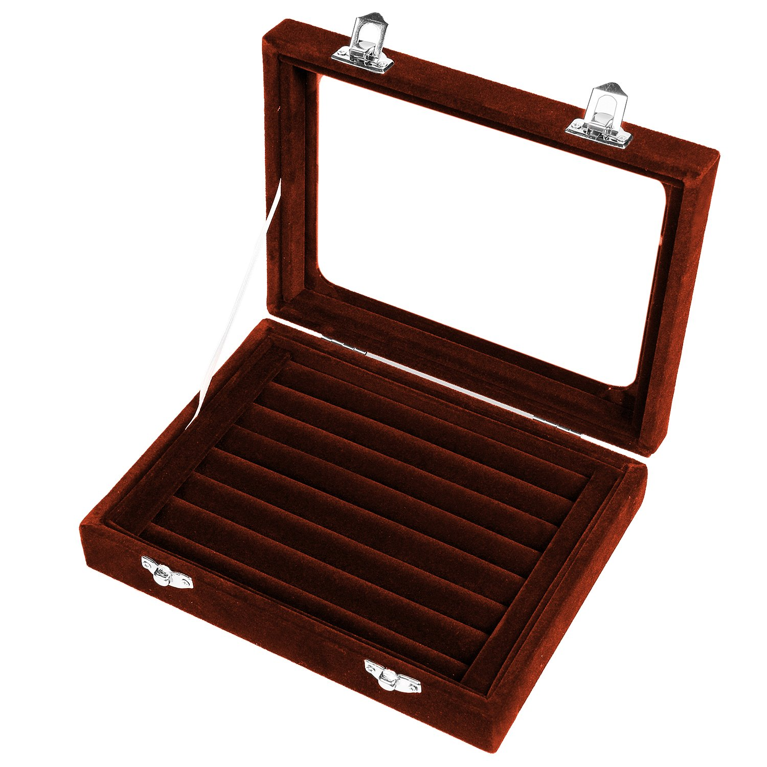 Basuwell Earring Storage 7 Slots Velvet Jewelry Tray for Drawers Glass Clear Lid Showcase Display Ring Organizer Earring Ring Trays Holder Cufflink Showcase-Black JB07