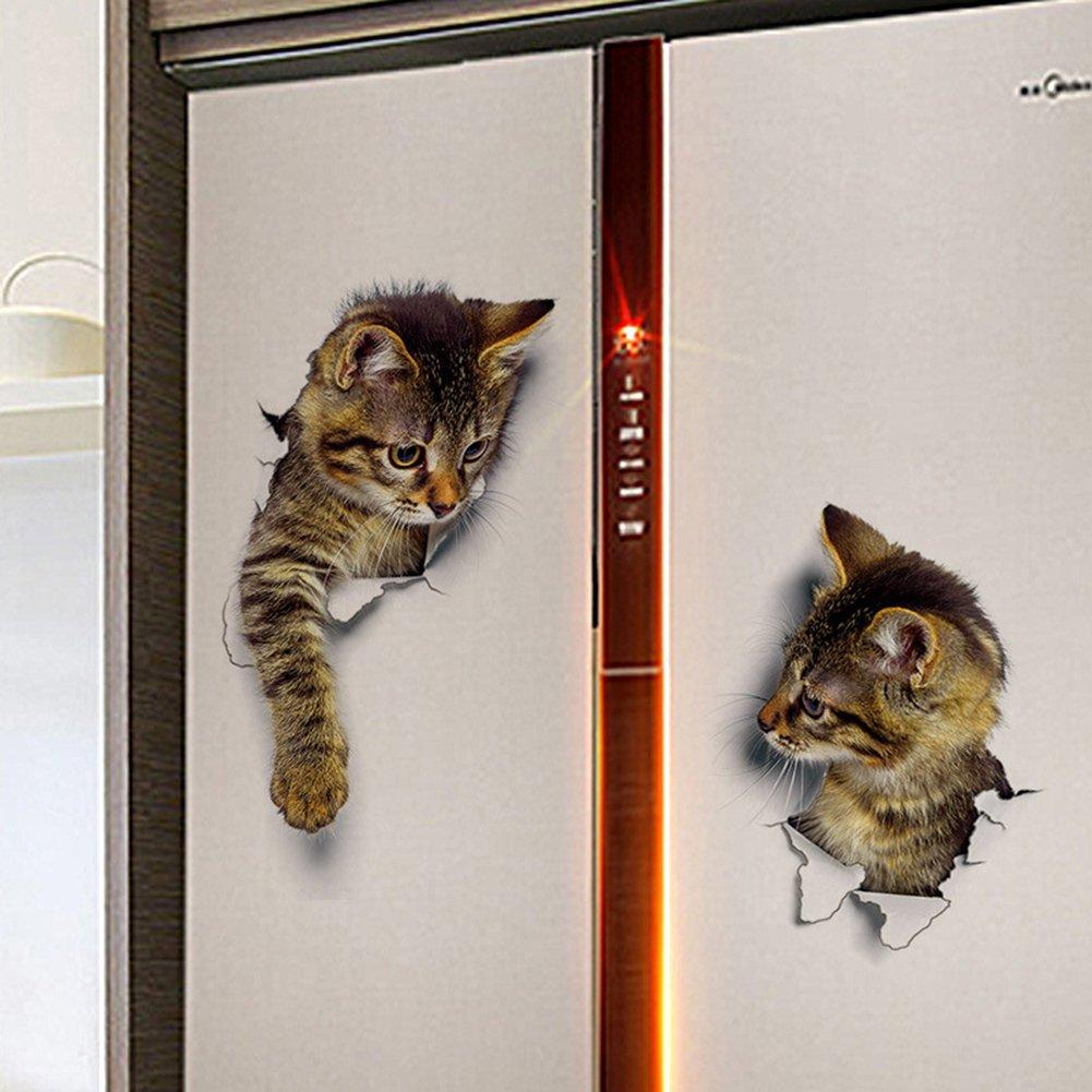 Oce180anYLV Nette 3D Gato Pared de Pegatinas decoración ...