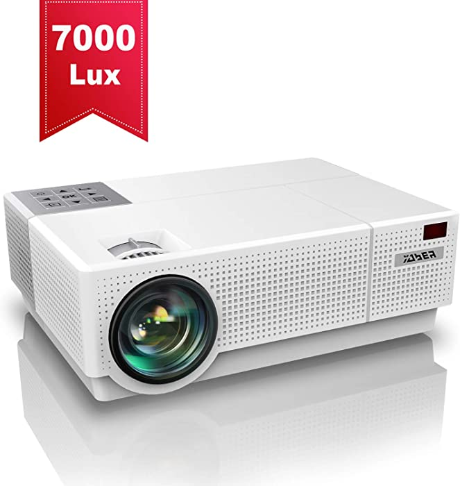 Projector, YABER Native 1920x 1080P Projector 7000 Lux Upgrade Full HD Video Projector, ±50° 4D Keystone Correction Support 4K, LCD LED Home Theater Projector Compatible with Phone,PC,TV Box,PS4