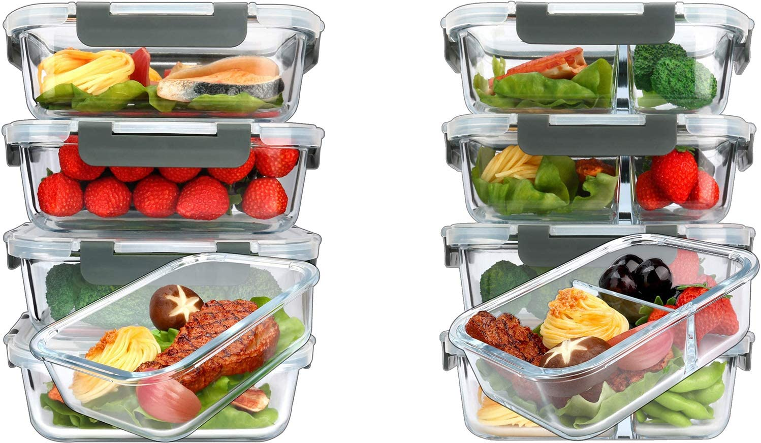 MCIRCO 36oz Single Compartment Glass Meal Prep Containers set of 5 and 36oz 2 Compartments Portion Control Glass Meal Prep Containers set of 5
