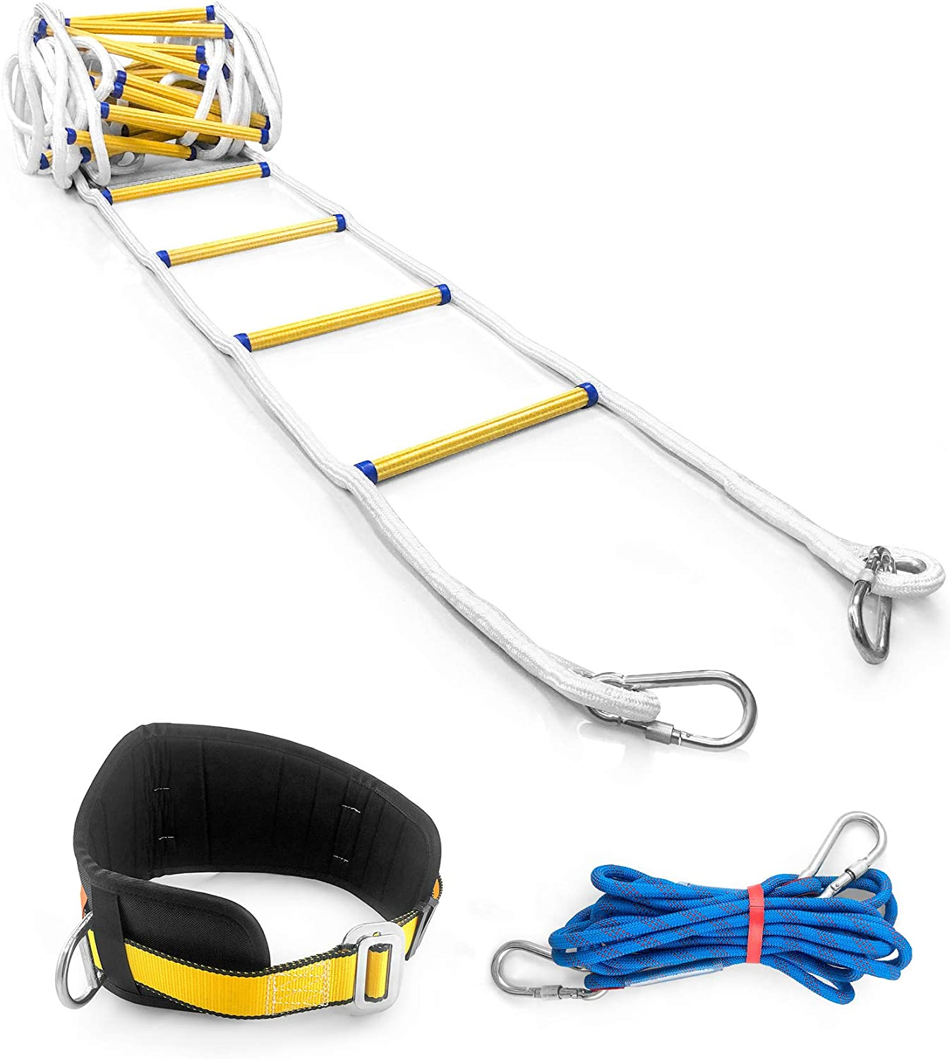 QWORK 32 FT Emergency Fire Ladder Resistant Safety Rope Escape Ladder with Carabiners & Safety Cord & Safety Belt for Fast to Deploy in Fire, 3-4 Story