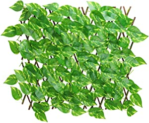 VAHIGCY Expandable Artificial Ivy Privacy Screen Fence- Retractable Fence Panel with Faux Leaves Green Cable Ties Decorative Nature Wood Trellis Fence Greenery Wall for Outdoor Backyard Home Decors