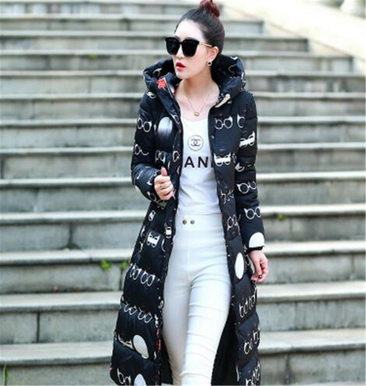 Feilongzaitianba Wadded Cotton Jacket Women Winter Coat Female Fashion Warm Parkas Hooded Women'S Jacket Casual Coat Plus Size Jx034 Black With Glasses M by Feilongzaitianba
