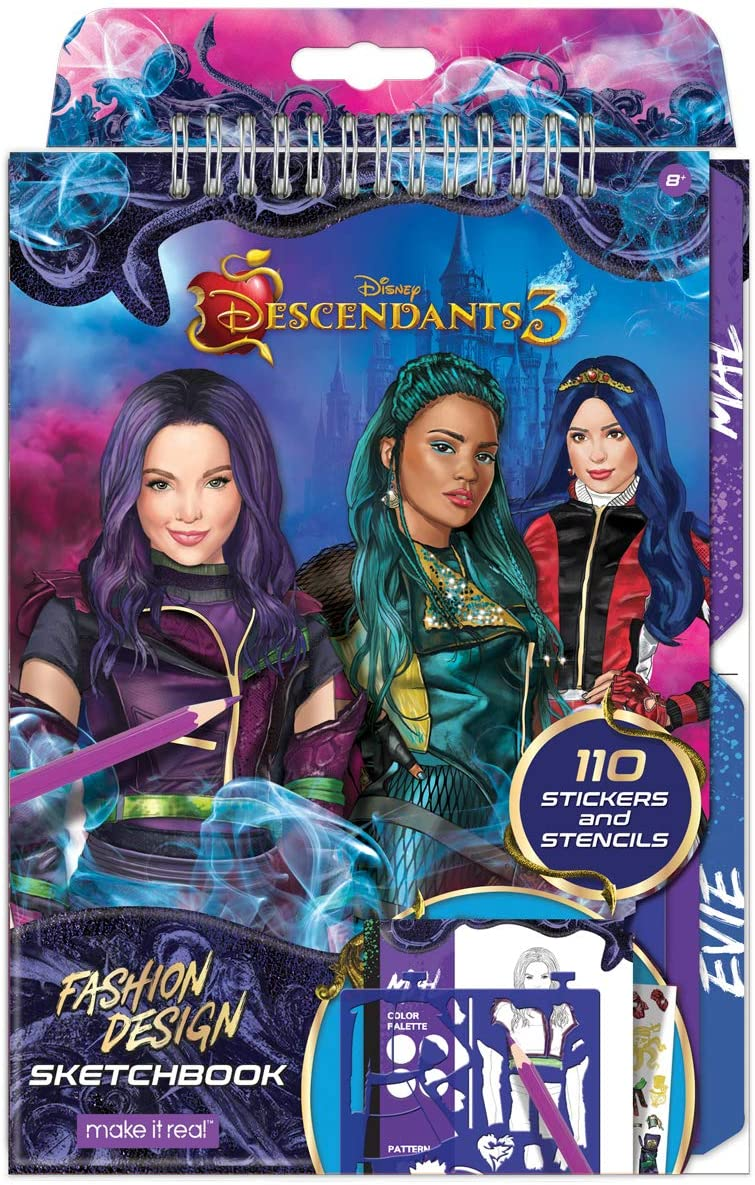 Amazon Com Make It Real Disney Descendants 3 Sketchbook Fashion Design Drawing And Coloring Book For Girls Includes Evie And Descendants 3 Sketch Pages Stencils Stickers And Design Guide Toys Games