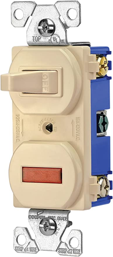 EATON Wiring 277V 15-Amp 120-volt Combination Single Pole Toggle Switch on electrical switches, safety switches, computer switches, power switches,