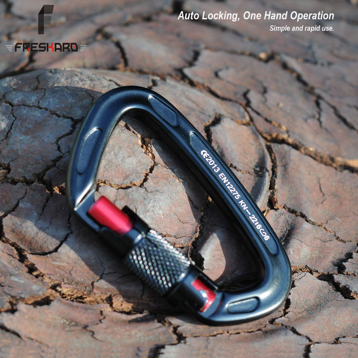 Black FresKaro 2pcs Climbing Carabiners-Auto Locking Carabiner Clips Twist Lock and Heavy Duty Carabiner Dog Leash D Shaped Certified for Climbing and Rappelling Large Size