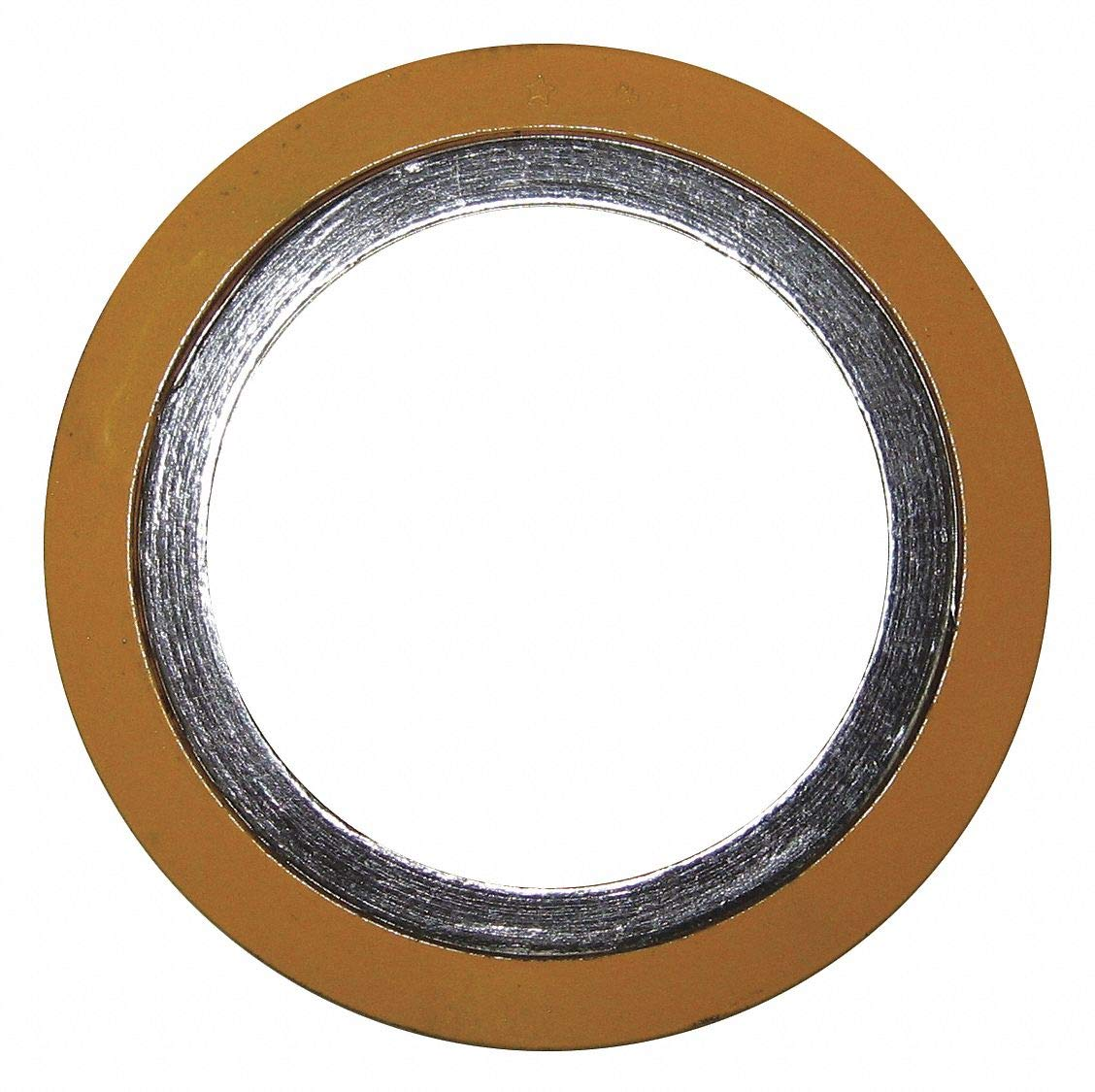 304 Stainless Steel Spiral Wound Metal Gasket, 14-1/4'' Outside Dia, Yellow Band, Gray Stripe