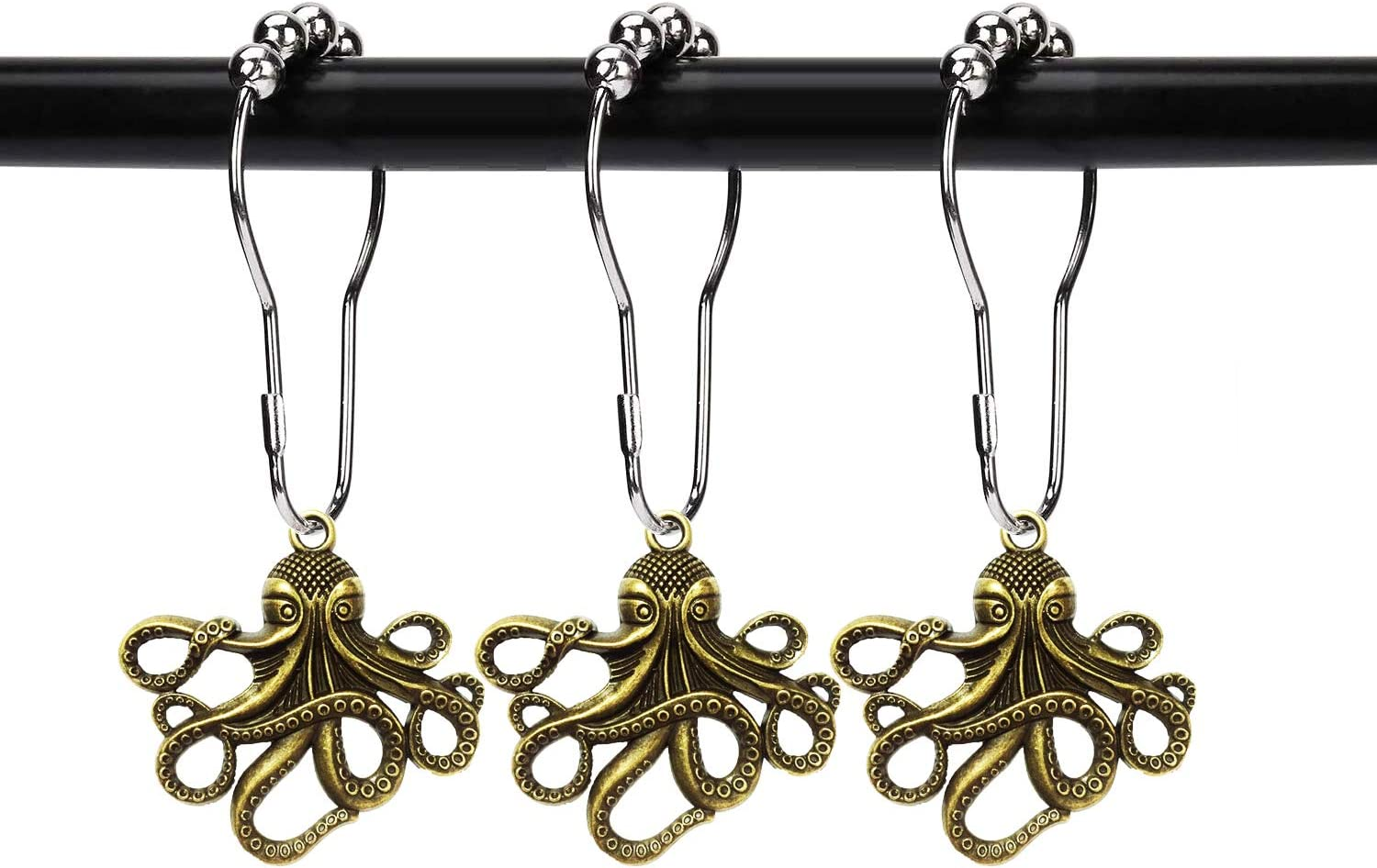 ZILucky Set of 12 Octopus Shower Curtain Hooks Decorative Home Bathroom Squid Sea Creature Beast Stainless Steel Rustproof Brushed Nickel Rings with Octopus Decorative Accessories (Bronze)